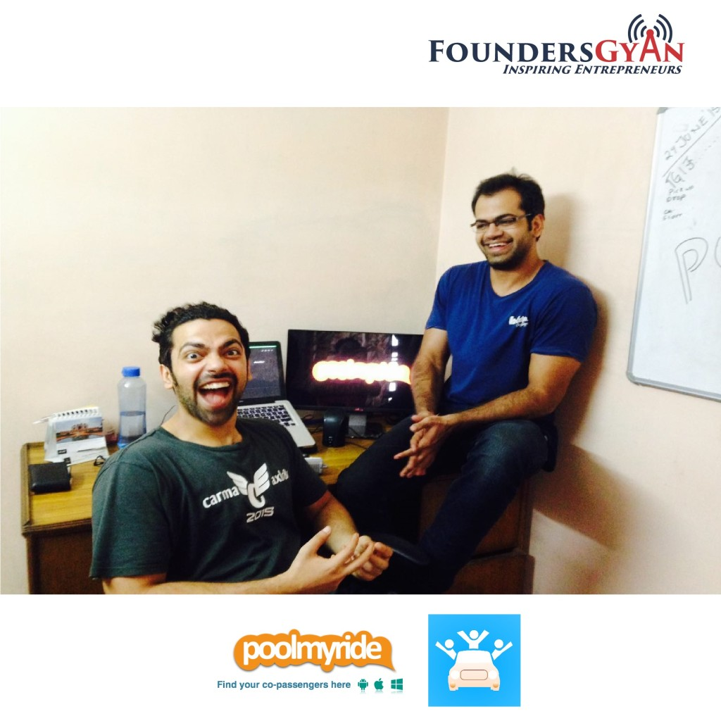 foundersgyan poolmyride ride sharing app Abhishek and Rajat Talwar